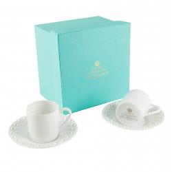 Duo de tasses à expresso et sous-tasses Pearl White