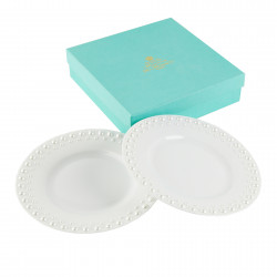 Two Dessert plates Pearl White