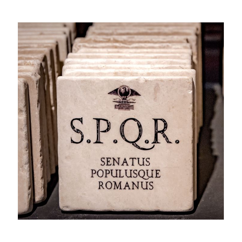 Plaque de marbre S.P.Q.R.